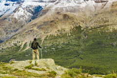 Man at Top of Andes Mountains, Patagonia - Argentina Stock Photo