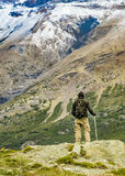 Man at Top of Andes Mountains, Patagonia - Argentina Stock Photos