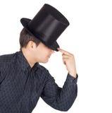 Man in top cap (cylinder) Royalty Free Stock Photos