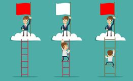 Man on the top of the cloud holding the red flag. Leadership concept. Man standing while holding the career ladder to get the flag in the clouds. Career Stock Image