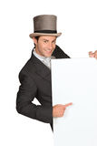 Man in top hat. With blank board Royalty Free Stock Photo