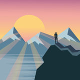 Man on the top of the hill watching wonderful scenery in mountai. Ns during summer colorful sunrise, flat, vector Royalty Free Stock Photography