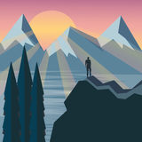 Man on the top of the hill watching wonderful scenery. In mountains during summer colorful sunrise time, flat, vector Royalty Free Stock Photography
