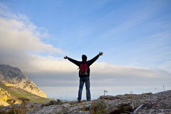 Man on top of the mountain Stock Photo