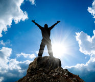 Man on top of mountain. Royalty Free Stock Photos