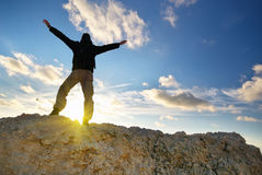 Man on top of mountain. Stock Images