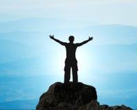 Man on top of mountain. Royalty Free Stock Photos