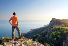 Man on top of mountain. Stock Photography