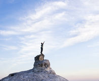 Man on top of mountain. Stock Photo