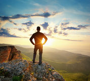 Man on top of mountain Royalty Free Stock Image