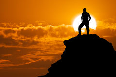 Man on top of mountain. Royalty Free Stock Photo
