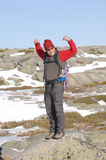 Man in the top of a in mountain hiking Stock Image