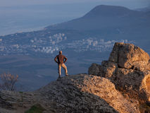 Man on the top of the mountain Stock Photography