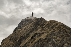Man at the Top of Mountain Stock Images