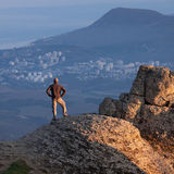 Man on the top of the mountain Royalty Free Stock Photo