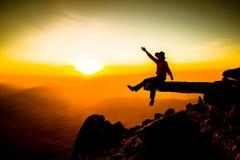 Man on top of mountain stock photos