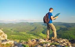 Man on top of mountain. Stock Photo