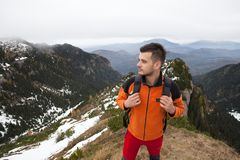 Man on top of the moutains Stock Photo