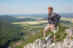 Man on the top of rock Royalty Free Stock Image