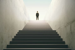 Man on top of the stairs. Close up Stock Photography