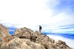 Man at top volcano Teide Stock Photography