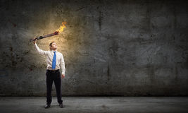 Man with torch Royalty Free Stock Photography