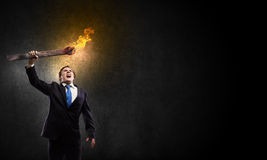 Man with torch Royalty Free Stock Images