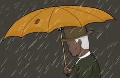 Man With Torn Umbrella in Storm Stock Photos