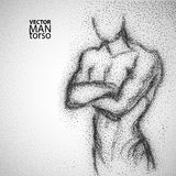 Man torso. Graphic drawing with black particles Royalty Free Stock Photo