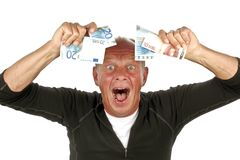 Man totally excited. After winning the lotery Stock Photography