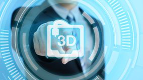 Man touch 3d print icon. On the blue background stock photos