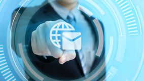 Man touch email icon. Business man touch email icon on the blue background Royalty Free Stock Photography