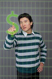 Man touch finger in money Stock Photography