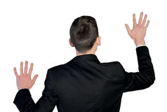 Man touch imaginary screen Royalty Free Stock Photos