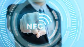 Man touch nfc icon. On the blue background Royalty Free Stock Image
