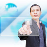Man With Touch Screen. Businessman Pressing On Touchscreen Interface Stock Photo