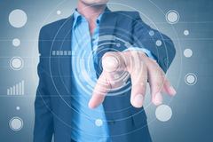Man With Touch Screen. Businessman Pressing On Touchscreen Interface Royalty Free Stock Images