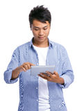 Man with touch tablet Royalty Free Stock Images