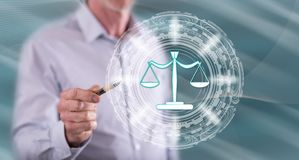 Free Man Touching A Justice Concept Royalty Free Stock Photography - 137293797