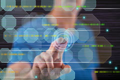 Man touching an abstract technology concept on a touch screen. With his finger royalty free stock image