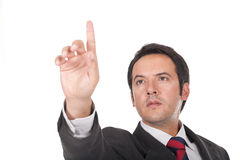 Man Touching An Imaginary Screen Or Button Stock Images