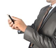 Man touching android phone blank screen professionally isolated Stock Images