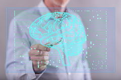 Man touching an artificial intelligence concept on a touch screen Stock Images