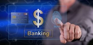 Man touching a banking security concept. On a touch screen with his finger stock photos