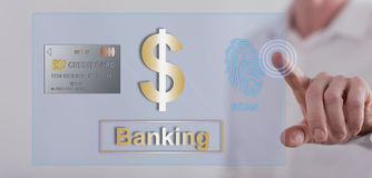 Man touching a banking security concept on a touch screen Stock Images