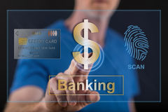 Man touching a banking security concept on a touch screen Royalty Free Stock Photography