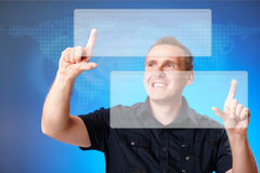 Man touching blank buttons Stock Photo