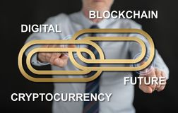 Man touching a blockchain concept on a touch screen. With his fingers Royalty Free Stock Image