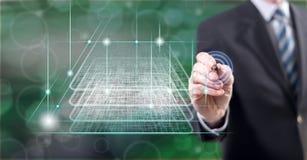 Man touching a blockchain technology concept stock photos