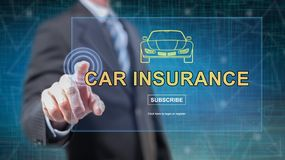 Man touching a car insurance concept. On a touch screen with his fingers royalty free stock photography